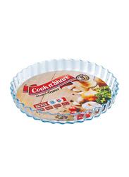 Cook n' Share 27cm(6) Borosilicate Glass Round Flan Dish Baking Tray, 27 x 4cm, Clear