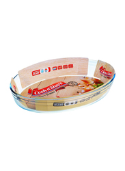 Cook n' Share 3 Ltr (6) Borosilicate Glass Oval Roaster Baking Tray, 35 x 24 x 6cm, Clear