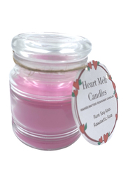 Heart Melt Candles Romantic Rose Scented Pure Soy Wax Handmade Jar Candle, Pink