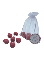 Heart Melt Candles 6-Pieces Heart Shaped Romantic Rose Scented Pure Soy Wax Melts Candles, Red