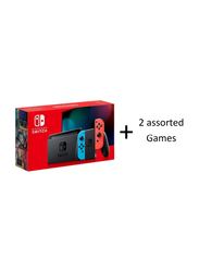 Nintendo Switch Console V2, with Left & Right Joy Con and 2 Assorted Games, Black with Neon Red/Blue Joy Con