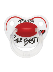 Bibi Happiness Papa Is The Best SVA Dental Silicone Soother, 0-6 Months, 112933, White/Red