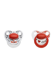 Bibi Mom & Dad Dental Silicone Soother with Ring, 0-6 Months, 114150, 2 Pieces, White/Red