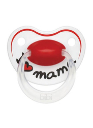 Bibi Happiness I love Mama SVA Dental Silicone Soother, 0-6 Months, 112927, White/Red