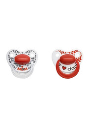 Bibi Mom & Dad Dental Silicone Soother with Ring, 6-16 Months, 114151, 2 Pieces, White/Red