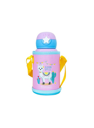 Waicee 600ml My Alpaca Stainless Steel Insulated Kids Vacuum Flask with Straw and Outer Bag, Pink