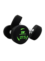 Dawson Sports Rubber Dumbbells, Black, 2 x 27.5KG
