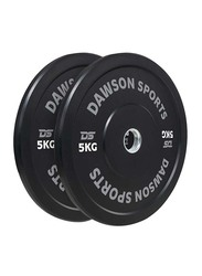 Dawson Sports Rubber Bumper Plates with Upturned Ring, Black, 2 x 5KG