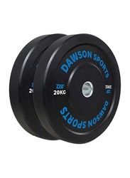 Dawson Sports Rubber Bumper Plates with Upturned Ring, Black, 2 x 20KG