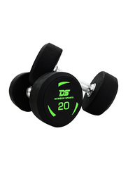 Dawson Sports Rubber Dumbbells, Black, 2 x 20KG
