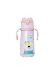 Waicee 400ml Happy Little Bear Stainless Steel Insulated Kids Vacuum Flask with Straw, Pink