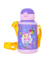 Waicee 600ml My Happy Rabbit Stainless Steel Insulated Kids Vacuum Flask with Straw and Outer Bag, Purple
