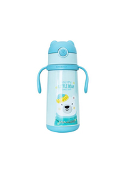 Waicee 400ml Happy Little Bear Stainless Steel Insulated Kids Vacuum Flask with Straw, Blue