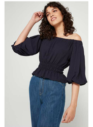 TFNC London Naty Off Shoulder Top for Women, Small, Navy Blue