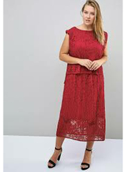 TFNC London Celia Sleeveless Top and Midi Skirt Set for Women, 4 Extra Large, Red