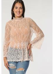 TFNC London Dandi Long Sleeve Lace Top for Women, Medium, Peach