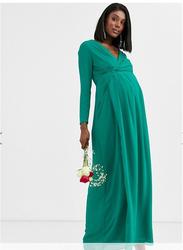 TFNC London Pafira Long Sleeve Maternity Maxi Dress, Large, Green