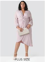 TFNC London Tamayo Long Sleeve Midi Dress, Large, Light Pink