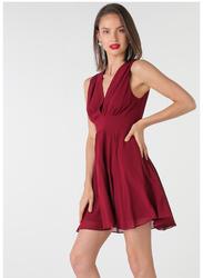 TFNC London Nordi Sleeveless Mini Dress, Large, Burgundy
