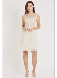 TFNC London Cecilia Sleeveless Mini Dress, Extra Large, Beige