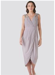 TFNC London Leonora Sleeveless Wrap Midi Dress, Double Extra Large, Light Pink