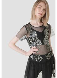 TFNC London Short Sleeve Net Embellished Top for Women, Large, Black