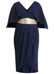 TFNC London Topaz Short Sleeve Midi Wrap Dress, Double Extra Large, Navy Blue