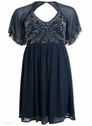TFNC London Parthenia Short Sleeve Midi Dress, 5 Extra Large, Navy Blue