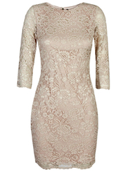 TFNC London Paris 3/4 Three-Quarter Sleeve Lace Mini Dress, Extra Large, Brown