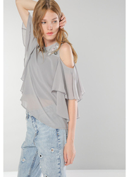 TFNC London Babalo Short Sleeve Top for Women, Small, Grey