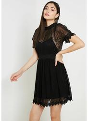 TFNC London Lidia Short Sleeve Mini Dress, Extra Small, Black