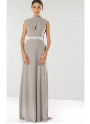 TFNC London Candy Sleeveless Bow Back Tie Maxi Dress, Large, Grey