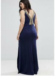 TFNC London Riccocone Sleeveless Sequin Maxi Dress, 24 UK, Navy Blue