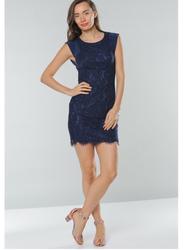 TFNC London Sleeveless See Lace and Mesh Mini Dress, Large, Navy Blue