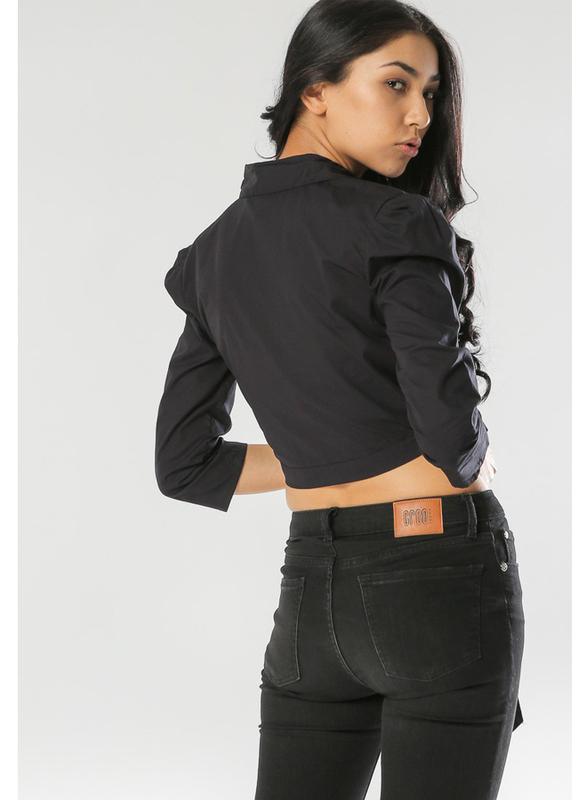 TFNC London Buddy Long Sleeve Crop Top for Women, Small, Black