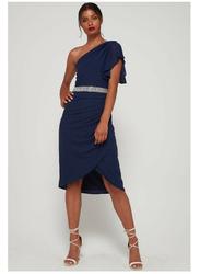 TFNC London Vereinne One Shoulder Midi Dress, Large, Navy Blue