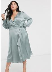 TFNC London Wanaka Long Sleeve Wrap Midi Dress, Triple Extra Large, Light Blue