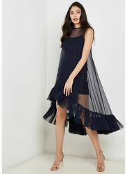 TFNC London Flamingo Sleeveless Net Midi Dress without Lining, Small, Black