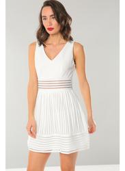 TFNC London Marelle Sleeveless Skater Mini Dress, Large, White