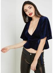 TFNC London Atina Short Sleeve Velvet Wrap Top for Women, Small, Navy Blue