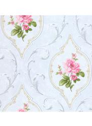 SK Filson Tudor Rose Cameo Pattern Wallpaper, 10 x 0.53 Meter, Blue