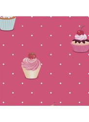 Ideco Jack N Rose Cupcakes Printed Self Adhesive Wallpaper, 0.53 x 10 Meter, Red