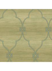 Wallquest Textured Frame Diamond Printed Wallpaper, 10 x 0.53 Meter, Gold/Blue