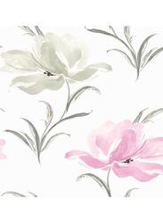 Wallquest Soleil Flower Printed Wallpaper, 0.52 x 10 Meter, Purple/Grey
