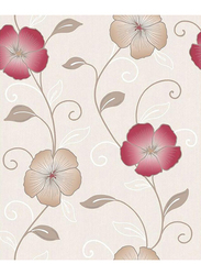 UGEPA Floral Blossom Wall Covering, 0.53 x 10 Meter, Beige/Red