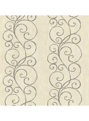 Wallquest Mercer Street Scroll Printed Wallpaper, 10 x 0.53 Meter, Grey/Beige