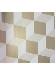 ICH New Age Cubes Printed Wallpaper, 10 x 0.53 Meter, Gold/White