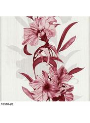 P+S International Novara Floral Printed Wallpaper, 10 x 0.52 Meter, Maroon/White