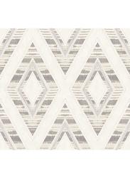 Wallquest Villa Rosa Diamond Pattern Self Adhesive Wallpaper, 0.68 x 8.23 Meter, Beige/Grey