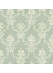 Wallquest Parisian Floral Damask Printed Wallpaper, 10 x 0.53 Meter, Green/Beige